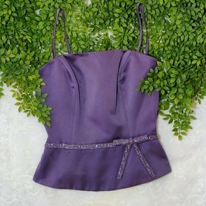 stunning purple bustier top with beaded bow belt
